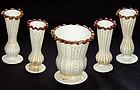 Murano Venetian PASTA White AVENTURINE FLECKS Vases