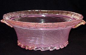 Murano BAROVIER Opalescent PINK Gold Flecks Center Bowl