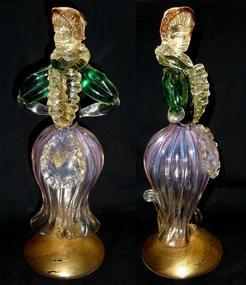 """Murano 12"""" Tall Victorian Dress Opal Skirt Woman Figure"""