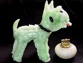 Murano PULEGOSO Green TERRIER SCOTTY DOG Sculpture Lrg