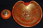 BAROVIER Murano GOLD FLECKS Red Orange Centerpiece Bowl