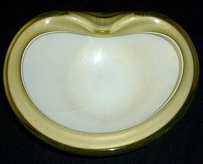 BARBINI Murano 50s GREEN GOLD FLECKS Centerpiece Bowl