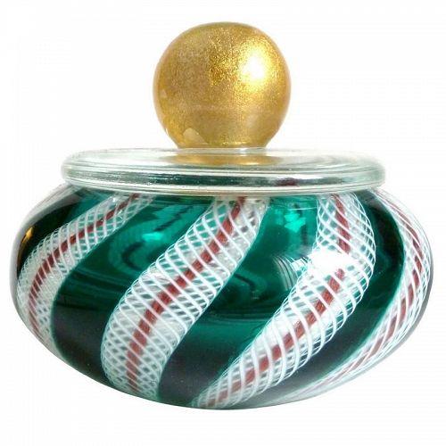 Murano Green Gold Flecks Italian Art Glass Vanity Powder Jewelry Box