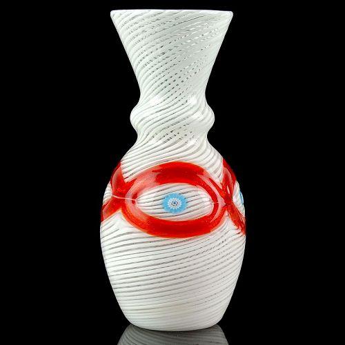 Salviati Murano Venetian White Eye Murrines Italian Vase