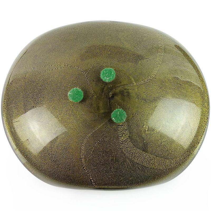 Barbini Murano Vintage Black Gray Gold Flecks Italian Art Glass Bowl