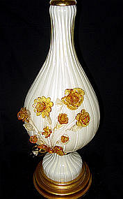 RARE Murano BARBINI Flower Bouquet GOLD FLECKS Lamp