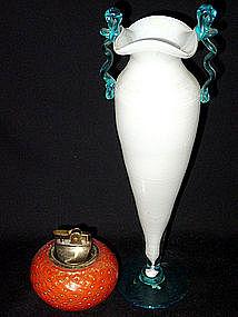 Murano FRATELLI TOSO 40s White Blue Handles Vase