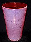 Murano TOSO Opal ORANGE PINK Bubble Beaker Vase
