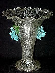 Venetian Murano SILVER FLECKS Blue Flowers Vase