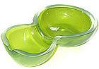 Murano TOSO Green Iridato DOUBLE GOURD Shaped Bowl