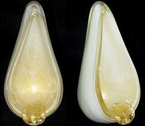 Murano BARBINI White Gold Flecks ATOMIC Ashtray