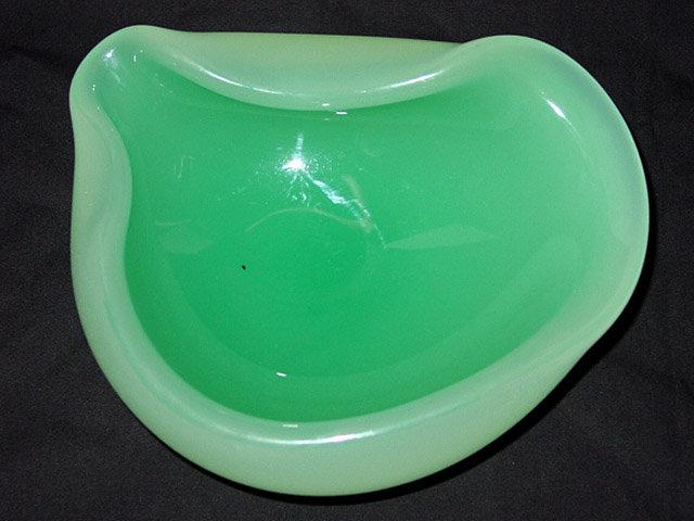 Large Murano SEGUSO Green ALABASTRO Biomorphic Bowl