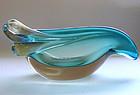 Murano SEGUSO Blue SOMMERSO Gold Snails Bowl