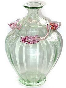 VENETIAN Murano SALVIATI 3 Fish SOFFIATI Vase 1900s
