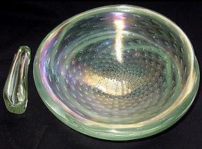 Murano SEGUSO POLI 40s Large IRIDESCENT Bowl + Pestel