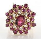 Pink tourmaline, diamond and 14K gold bombe ring