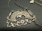 Antique Chinese silver Bat and coin necklace