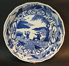 2 Asian  Export Blue and White porcelain plates