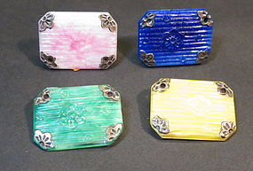 4 Chinese Peking Glass pins with silver corners