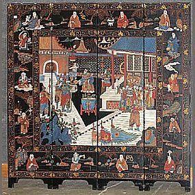 A four-panel coromandel screen with military scene