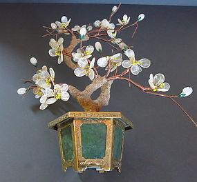 Jade and gemstone flower pot