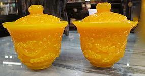 Pair of Yellow Peking glass cover tea bowls  Gai Wan
