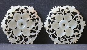 Pair of white jade nephrite hexagonal shape  pendants