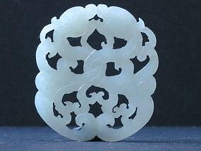Chinese white jade nephrite dragon plaque