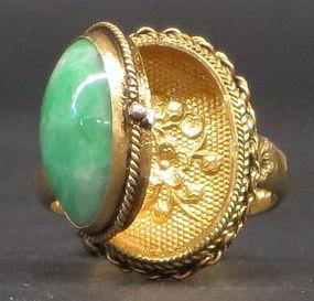 Jadeite pioson gilt silver ring