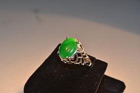 Estate jadeite and white gold ring