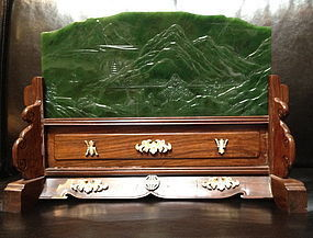 Spinach jade landscape plaque table screen
