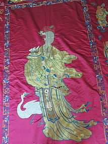 Antique Chinese Satin embroidered panel