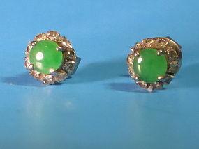 Jadeite diamond white gold earrings