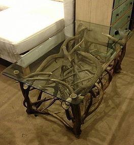 woven antler base coffee table