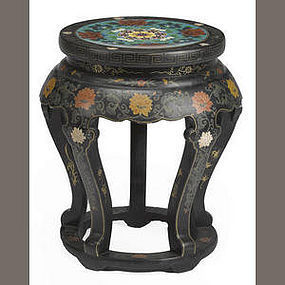 Chinese black lacquered wood stool with cloisonne inlay