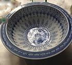 Chinese blue an white antique porcelain fish bowl basin