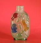 Antique Peking glass overlay snuff bottle