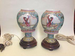 Pair of Chinese Famille Rose Porcelain lamp lantern