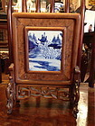 Antique Chinese porcelain plaque table screen