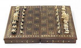 Carved Bone inlaid wood traveling case
