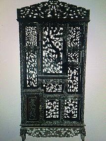 Pierce carved massive rosewood curio shelf