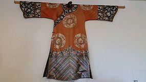 Mandarin lady's informal red ground embroidered robe Changfu