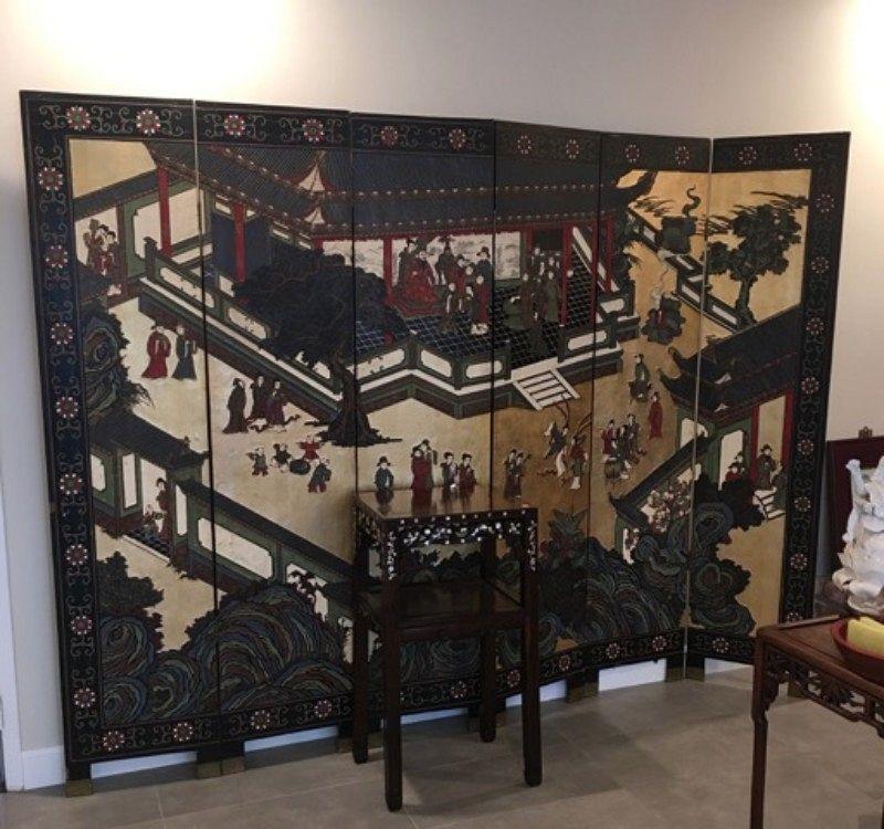 Beautiful coromandel floor 6 panels screen