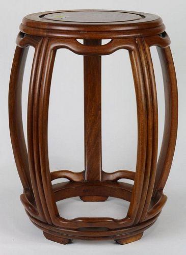 Chinese drum form hardwood stool