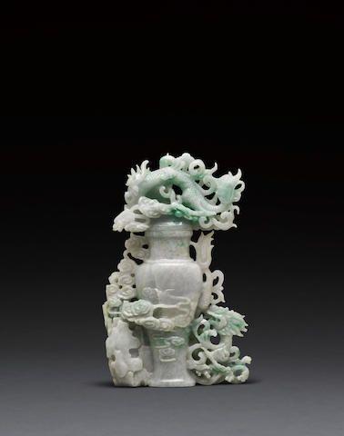 A carved jadeite dragon  covered vase