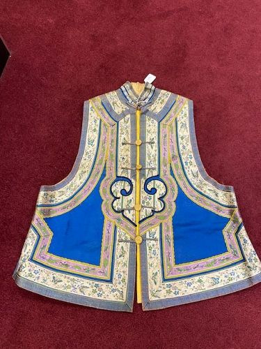 Antique Chinese Blue goound silk embroidery Vest with gilt buttons.