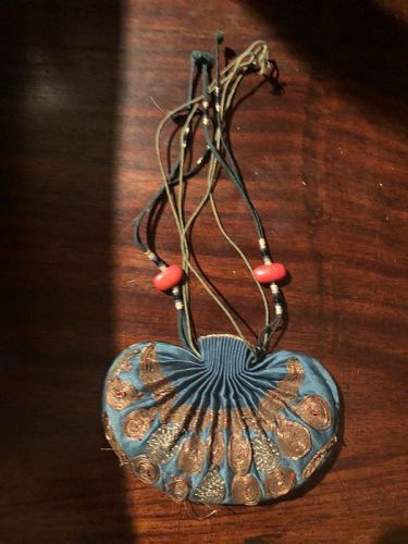 Blue Ground Chinese silk embroidered Sachet pouch He Bao.