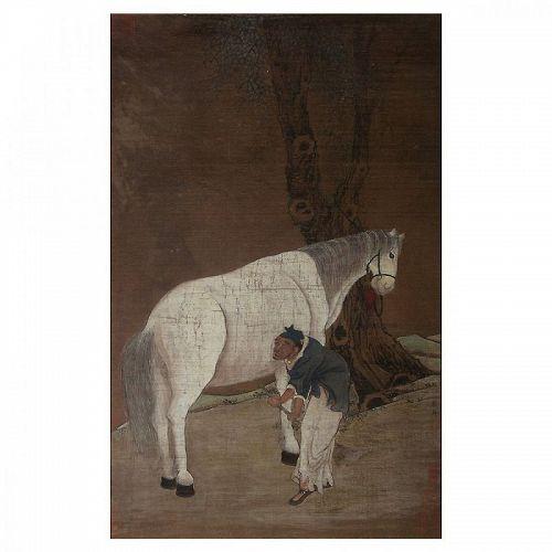 Han Gan  (Chinese 706 - 783 AD, Tang Dynasty): �Man Herding horse�.