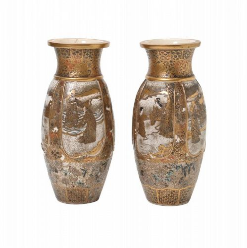 Pair of Japanese Satsuma Figural Vases.