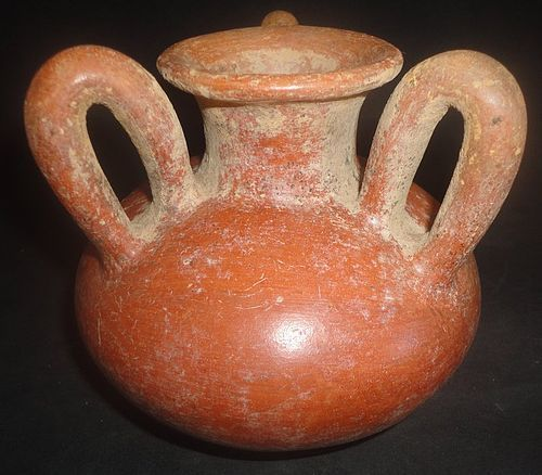 A UNIQUE THREE HANDLED CHIRIQUI VESSEL FROM PRE-COLUMBIAN PANAMA